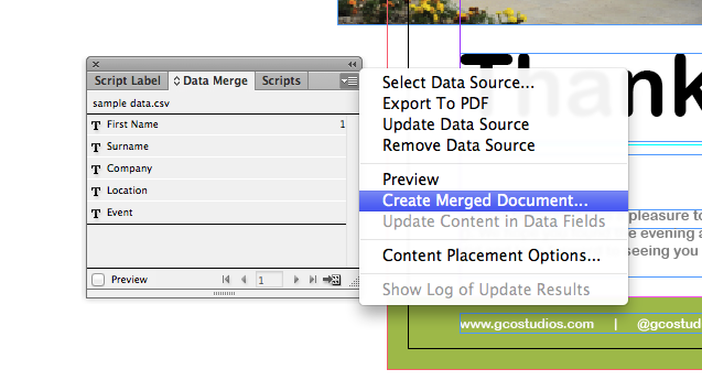 How to create the data merged document in Indesign CS6