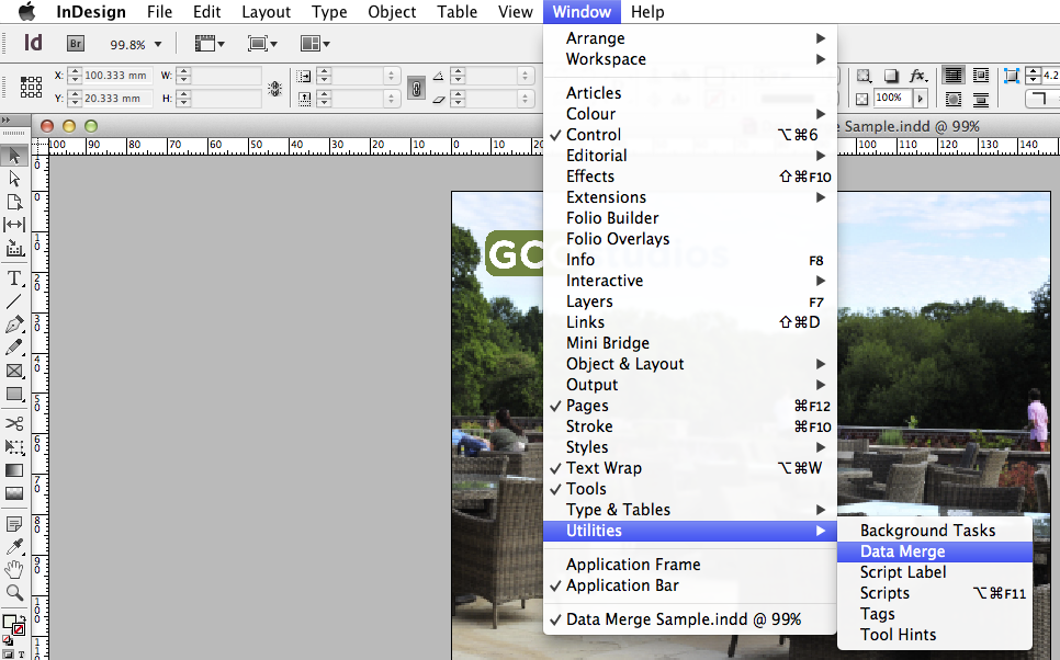 How to access data merge in indesign cs6