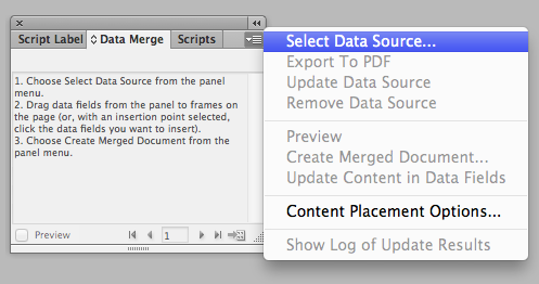 How to select data to merge in indesign cs6
