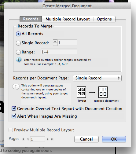 How to merge a single record onto a page with data merge in indesign cs6
