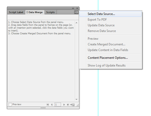 Select Data Source in Indesign CS6