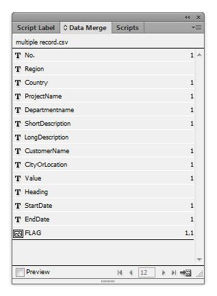 Data fields in Indesign CS6