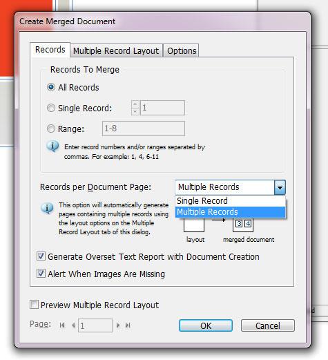 Multiple Record Data merge in InDesign CS6