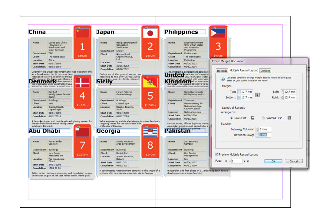 Multiple record layout in InDesign CS6