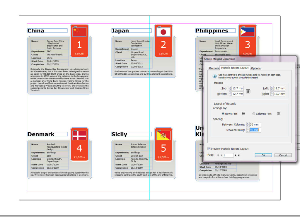 Grid placement for data merge in InDesign CS6