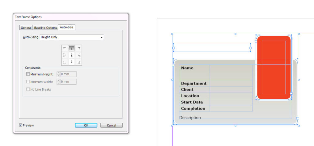 Auto sizing text box in Indesign CS6
