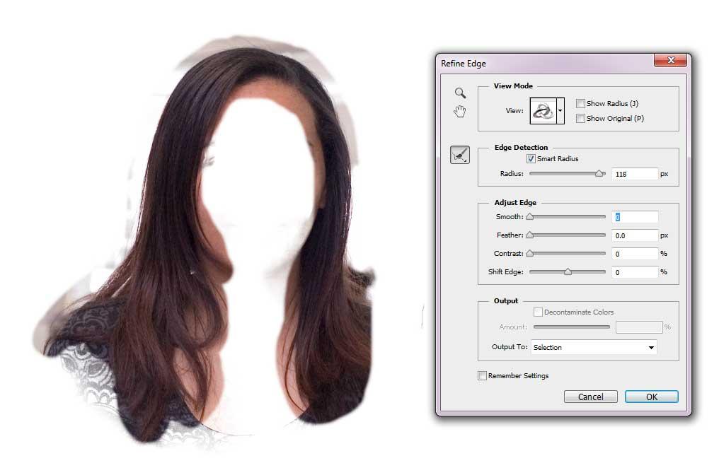 Change Hair Colour - Refine Edge Brush Tool