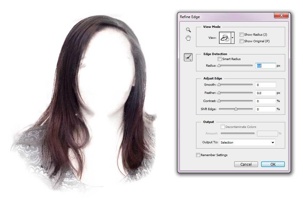 Change Hair Colour - Precise Refine Edge Tool