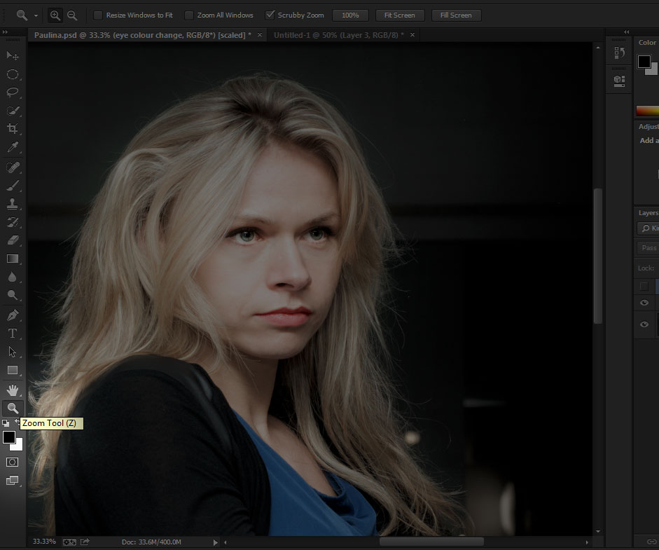 Change eye color in photoshop CC (also in CS6) - Zooming in