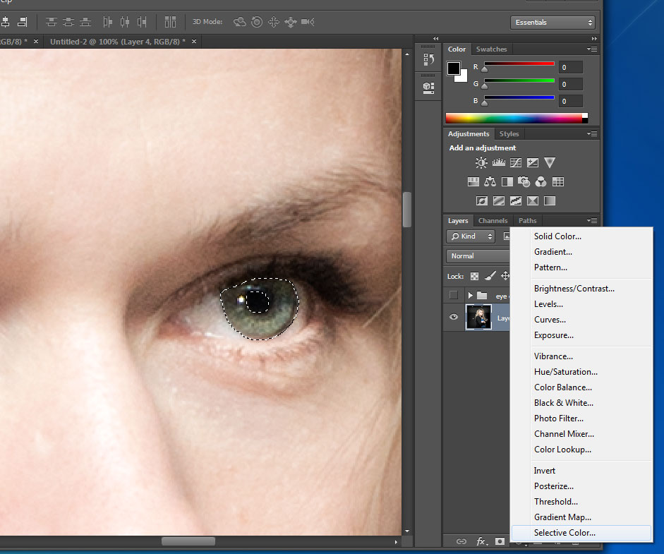 Change eye color in photoshop cc also in cs6 selective color adjustment layer