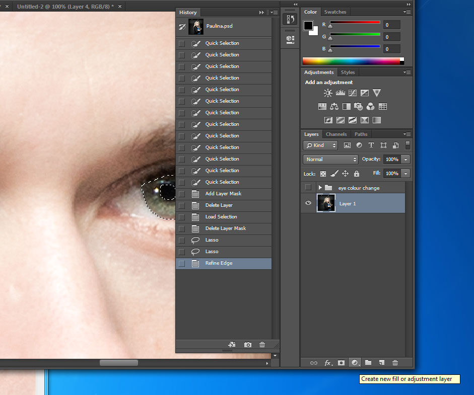 Change eye color in photoshop CC (also in CS6) - new adjustment layer