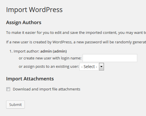 Assign content to authors and download and import file attachments